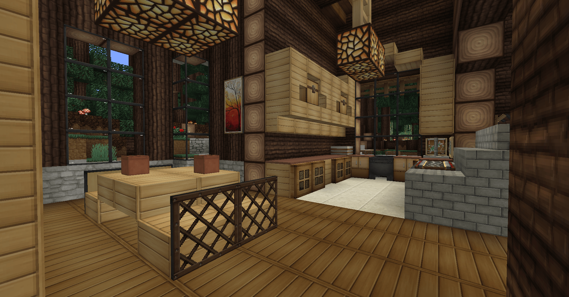minecraft survival, log cabin, interior, dining room