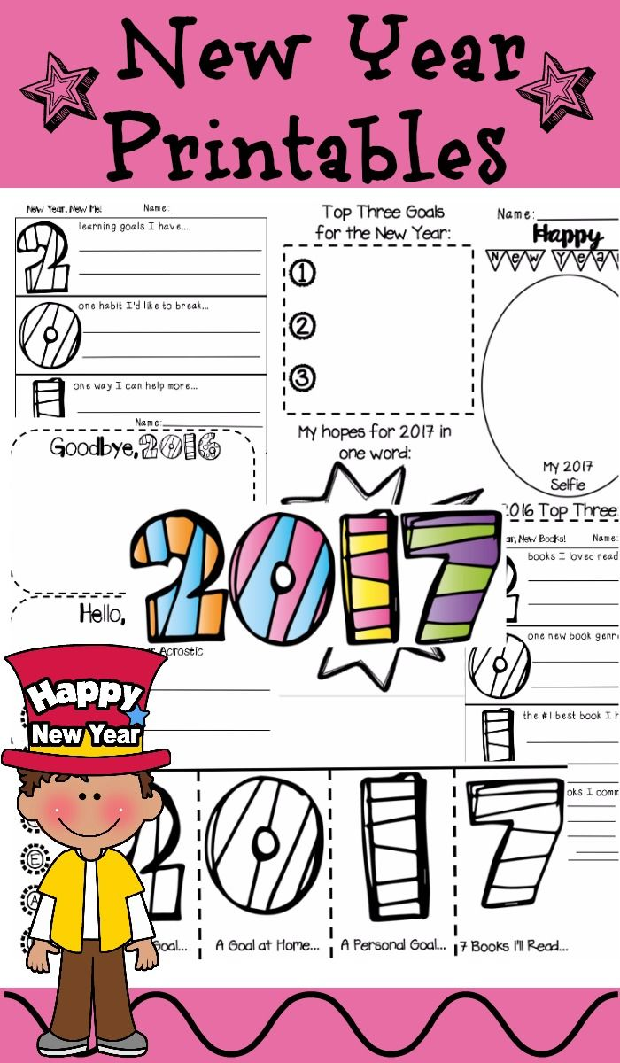 New Year 2018 Activities 2017 printables, Elementary