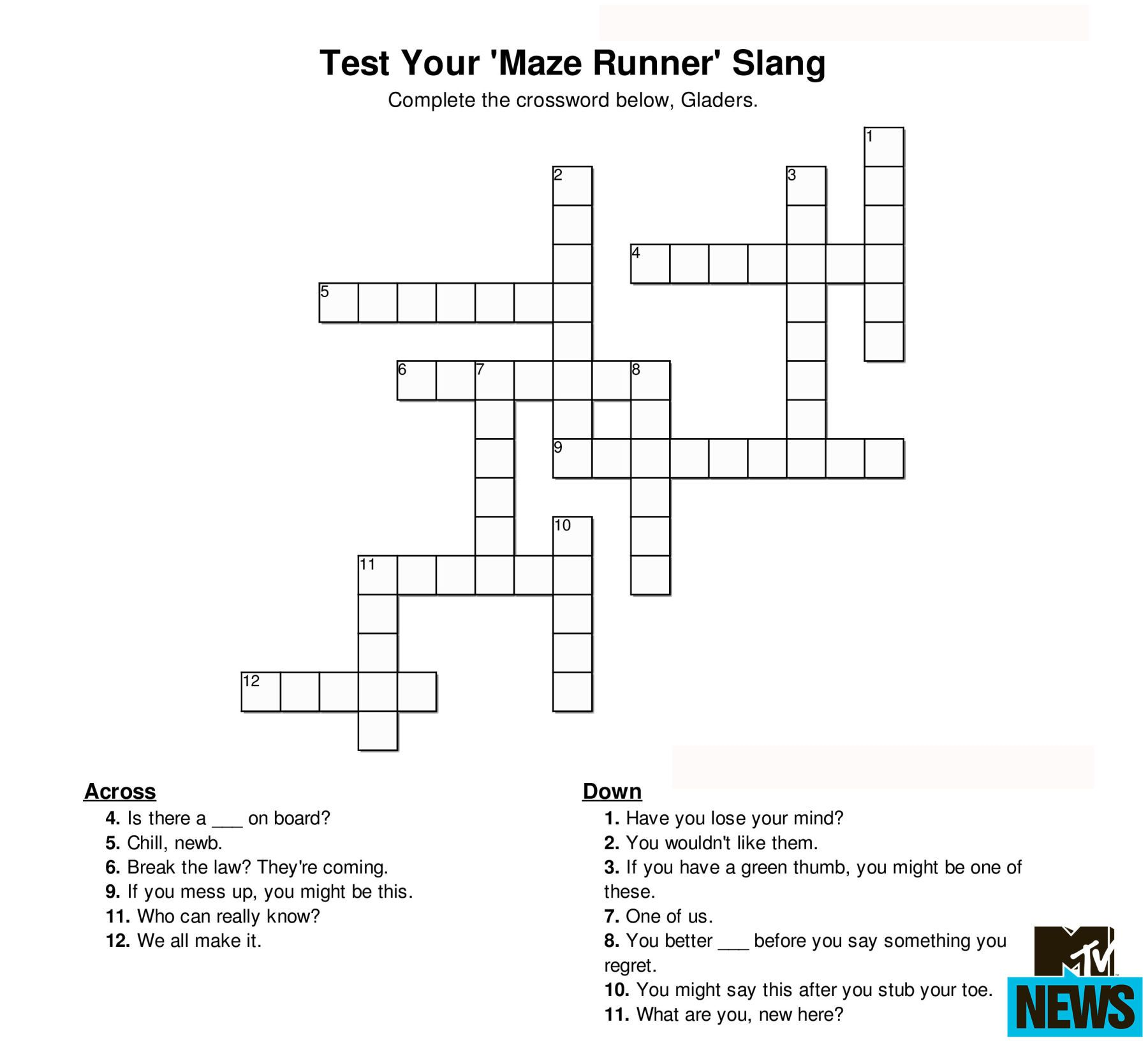 Can You Ace These Hunger Games And Ya Crosswords