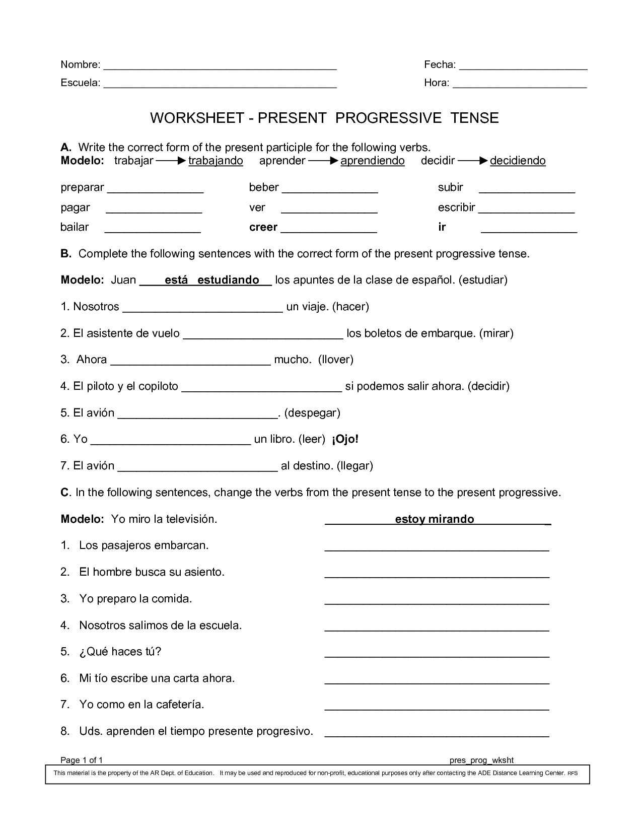 Spanish Worksheets Printables