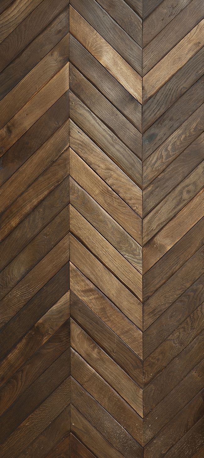 RECLAIMED FRENCH Oak in large Chevron pattern. FLOORED