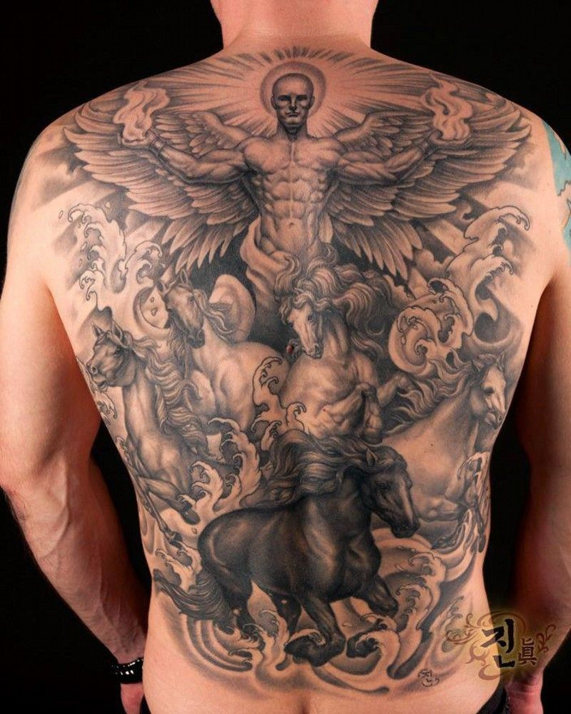 Great angel with horses tattoo on whole back tattoos