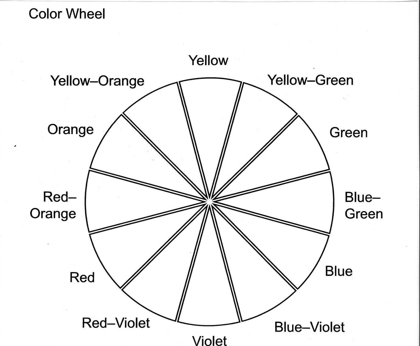 Printable Colour Wheel Free