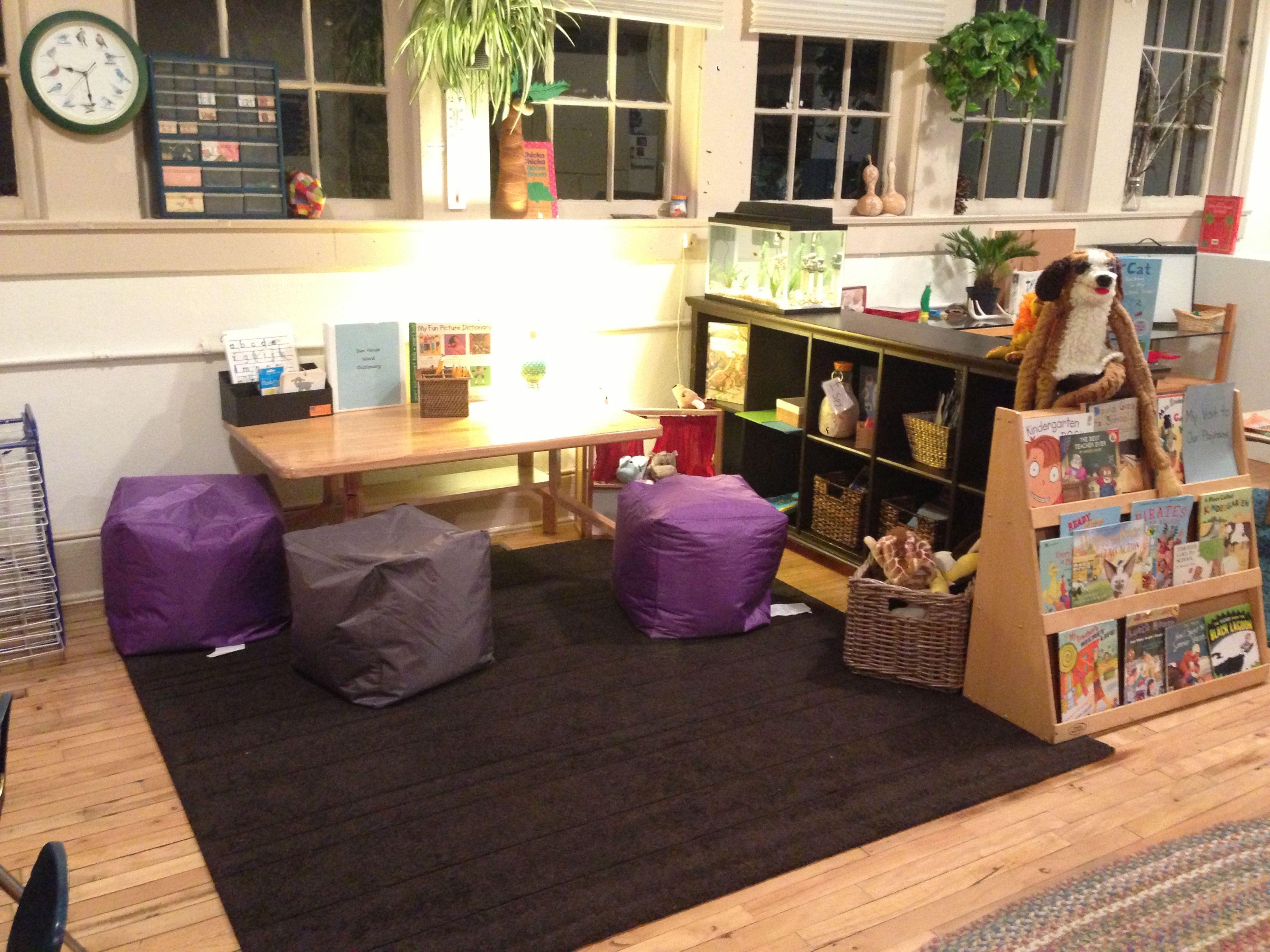Kindergarten Reggio Literacy Studio With Cozy Writing Table Books Alphabet Provocations And