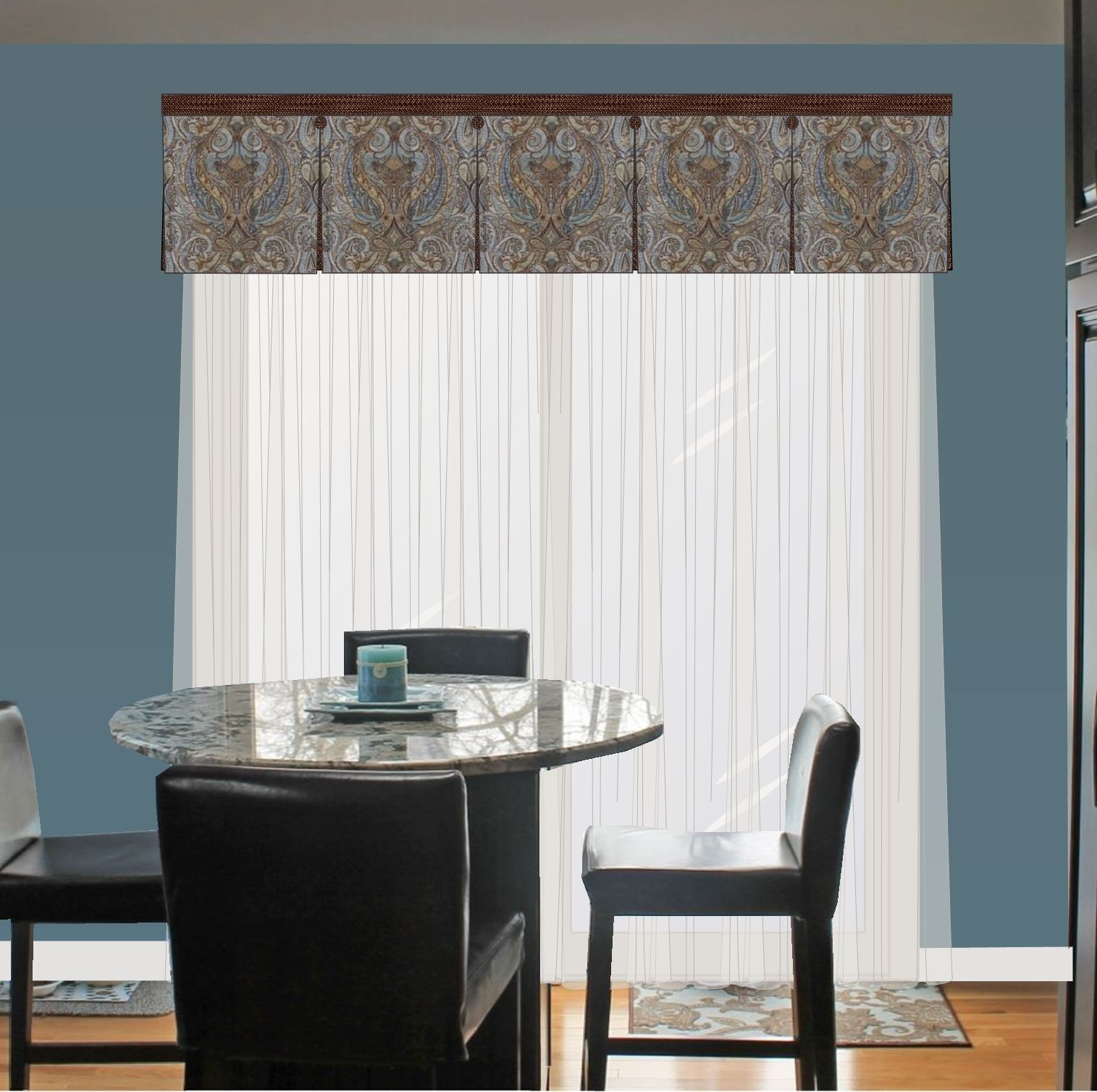 Box Pleated Valance Over Sheers