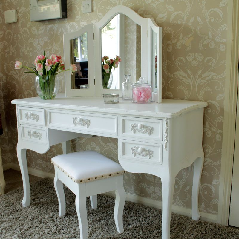 Antique White Dressing Table Desk with Triple Mirror and