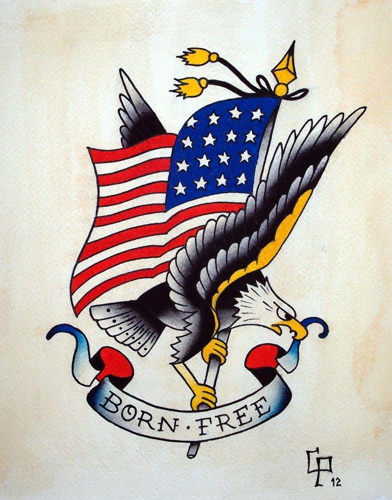 Born Free Eagle Tattoo Design Tattoos Pinterest