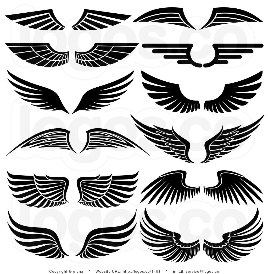Royalty Free Stock Logo Clipart of Angel Wings arts and