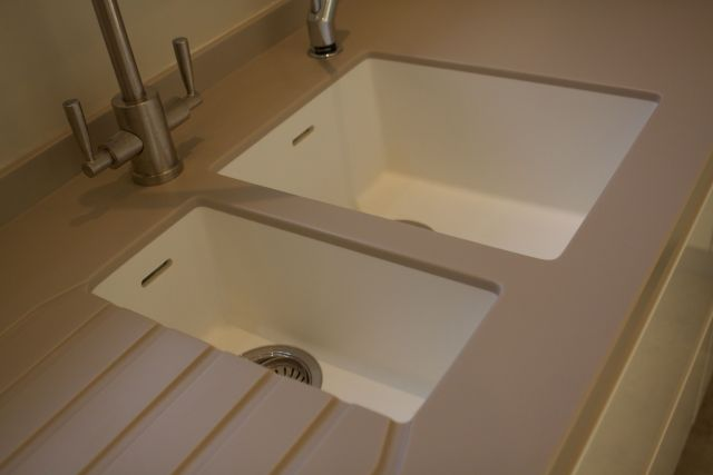 967 & 969 Corian Sinks in Glacier White
