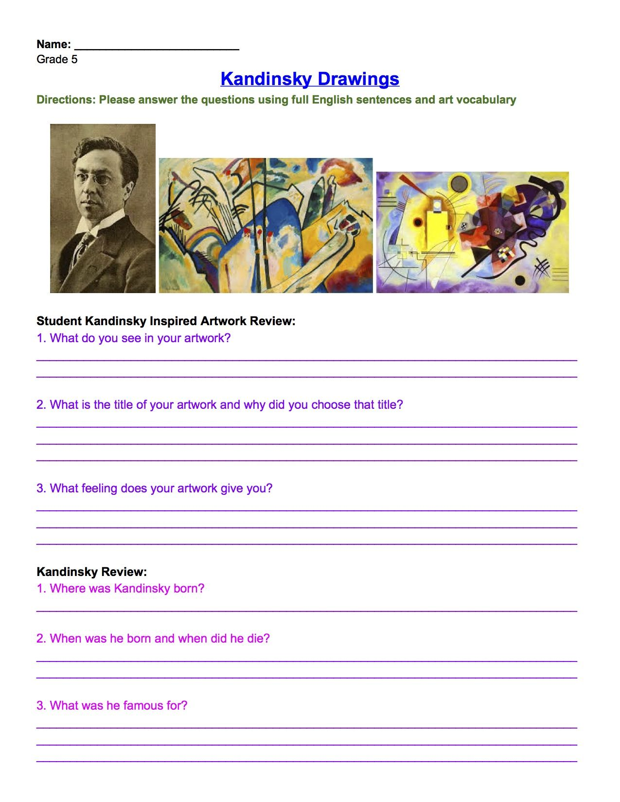 Kandinsky Drawing Review Worksheet Grade 5