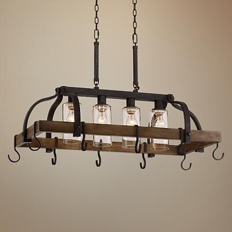 Eldrige 36 1 2 Wide 4 Light Bronze Pot Rack Chandelier
