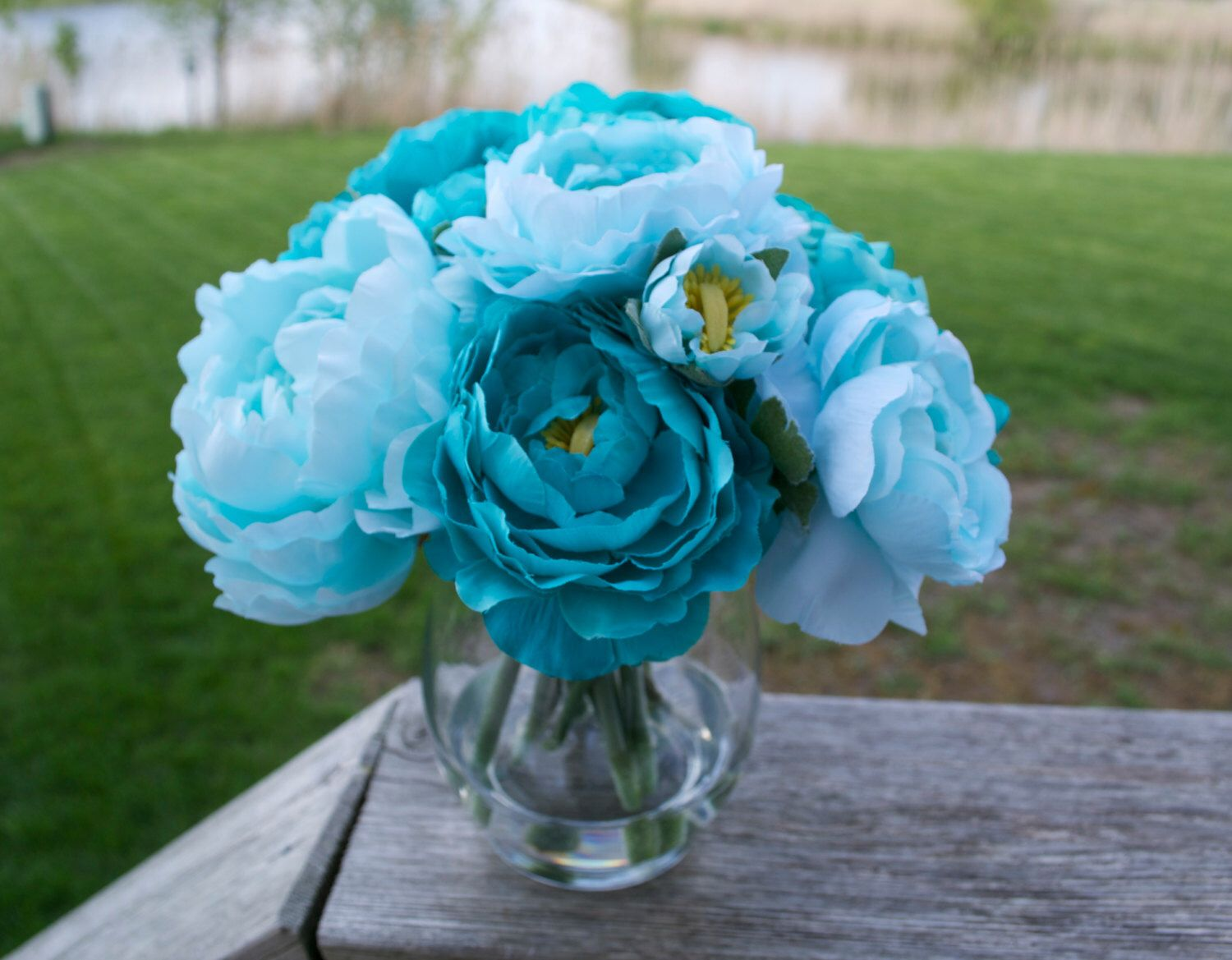 Turquoise & Teal Peonies in Glass Vase with Faux Water