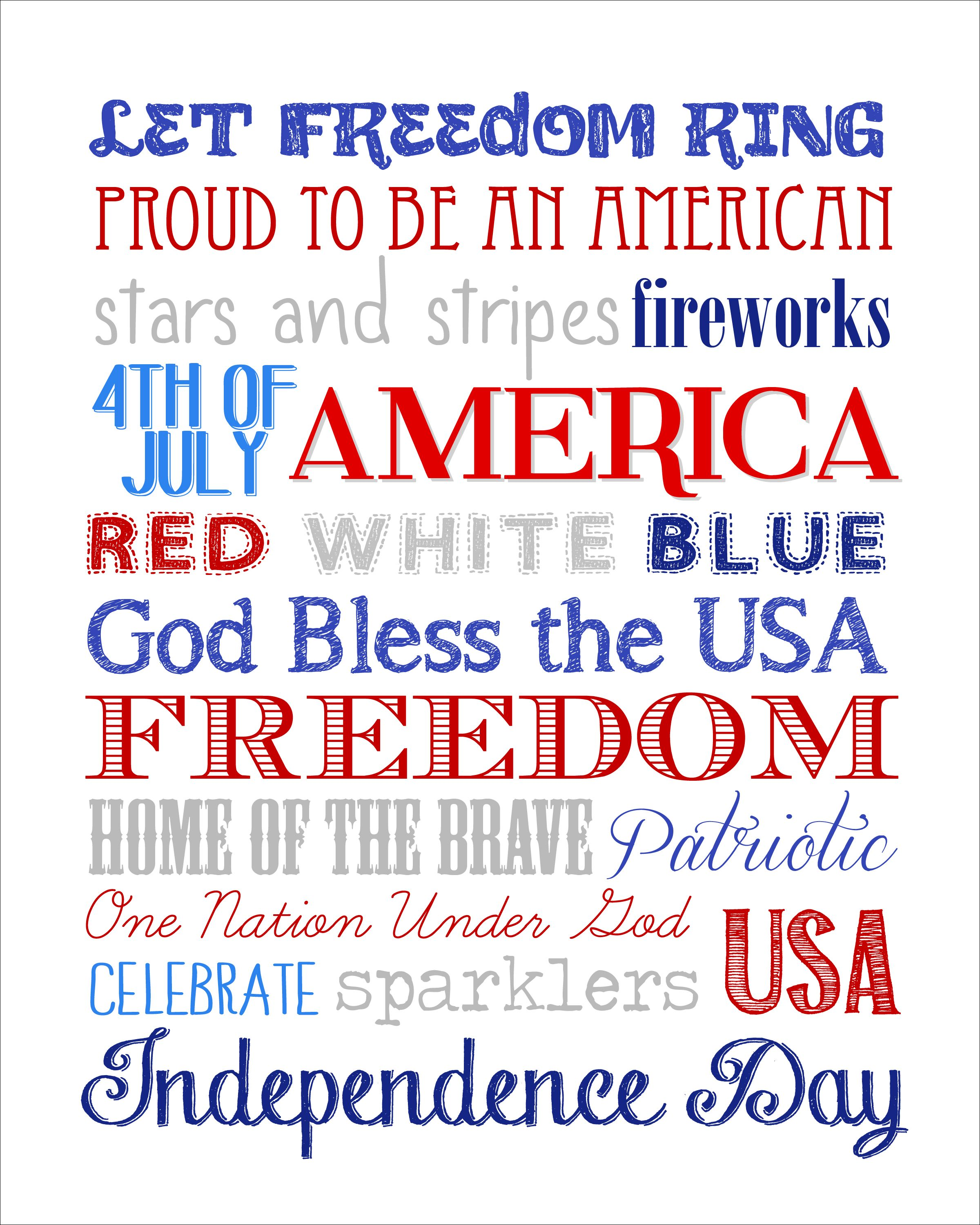 Fourth Of July Subway Art Free Printable
