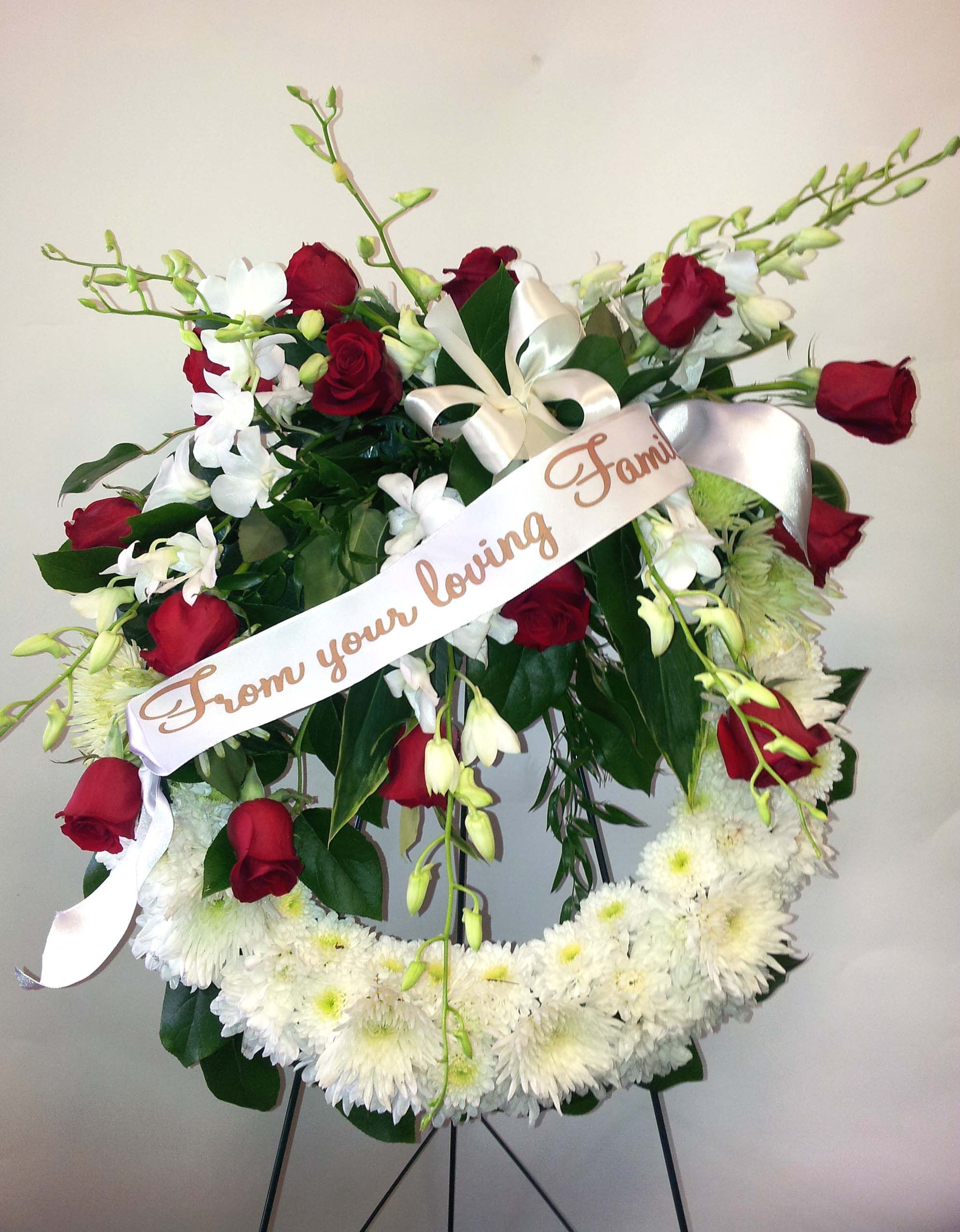 White & Red Standing spray with ribbon Funeral Flowers