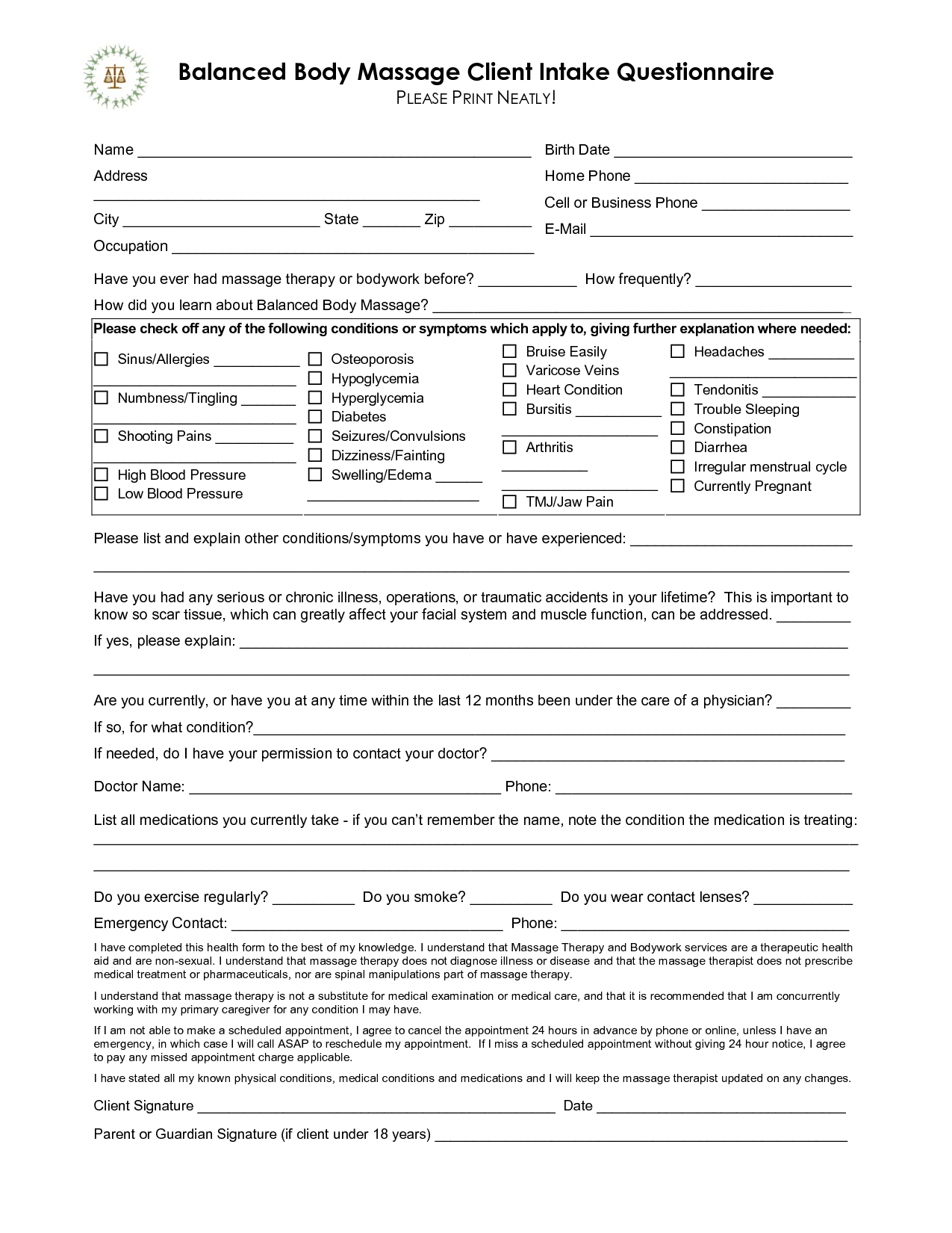Free Massage Intake Forms