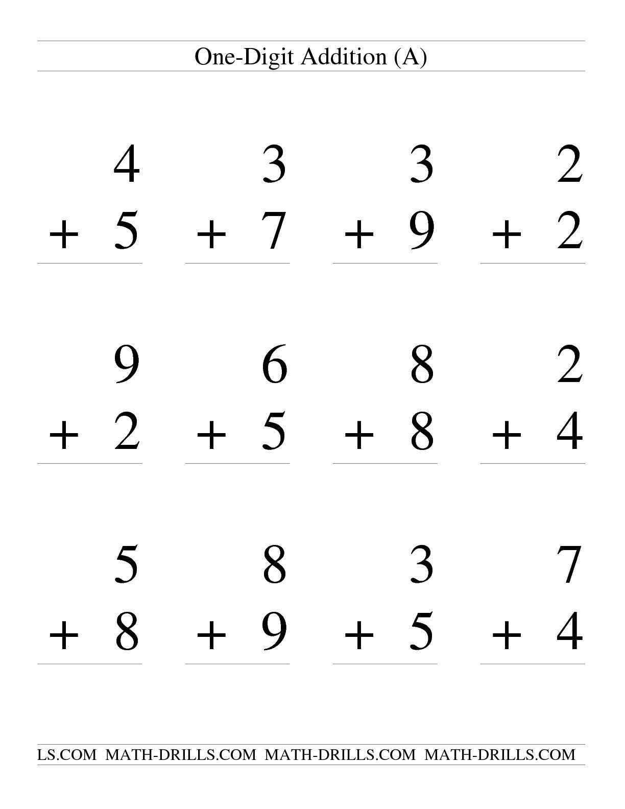 The Single Digit Addition Some Regrouping 12 Per Page A Math Worksheet From The Addition