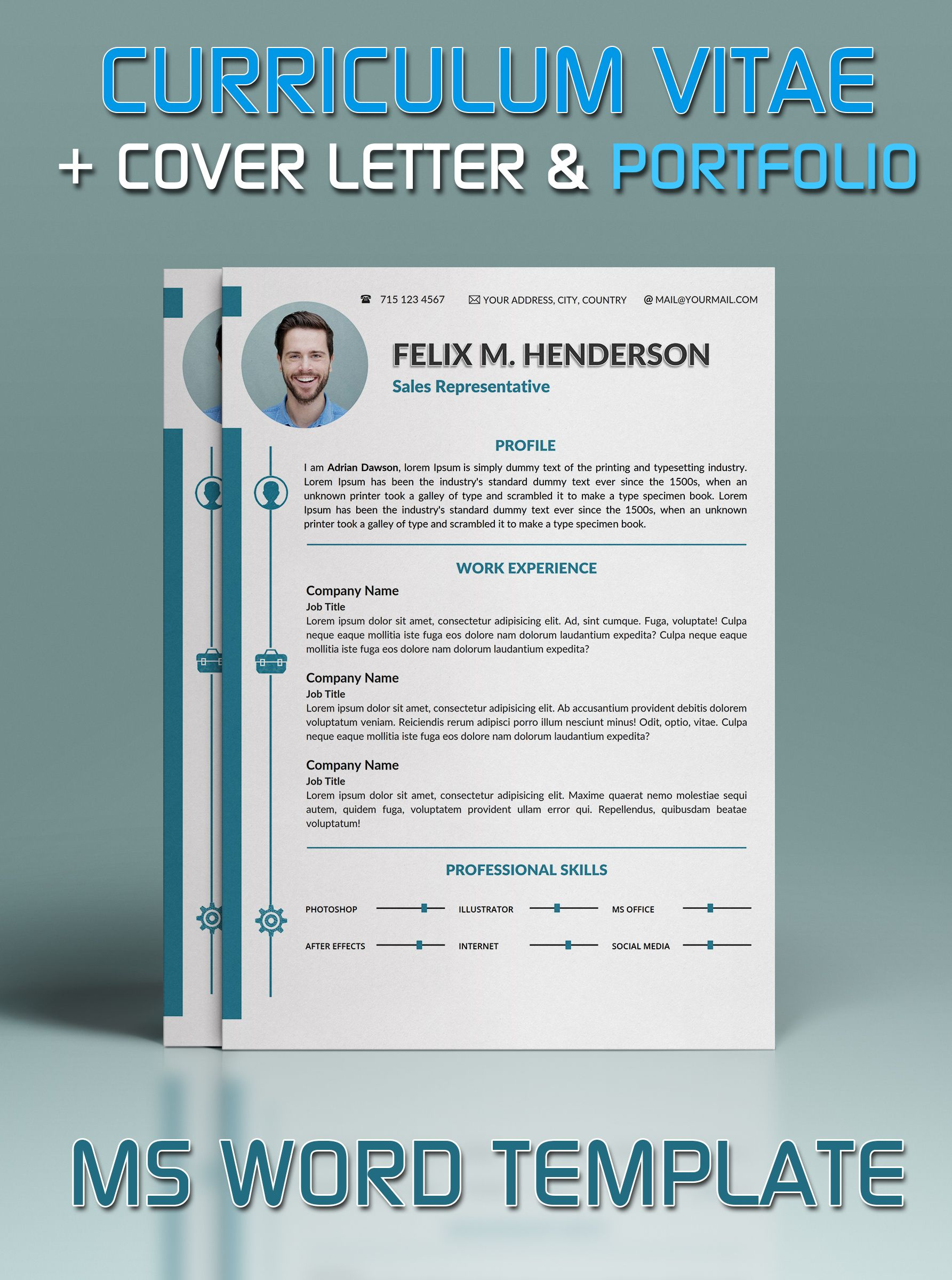 Resume Template in Microsoft Word, Cover Letter and