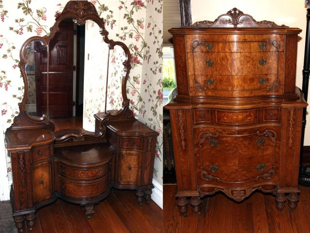 1950 Bedroom Vanity Antique Furniture Vintage Set Questions Full Size Headboard