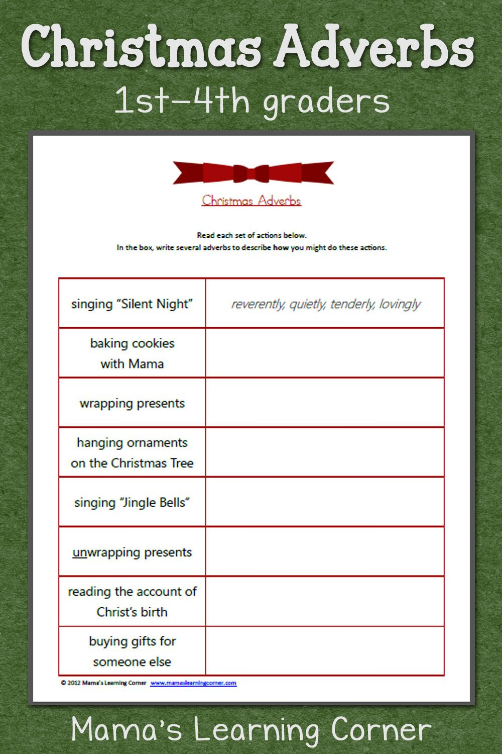 Christmas Adverbs Worksheet Adverbs, Free worksheets and