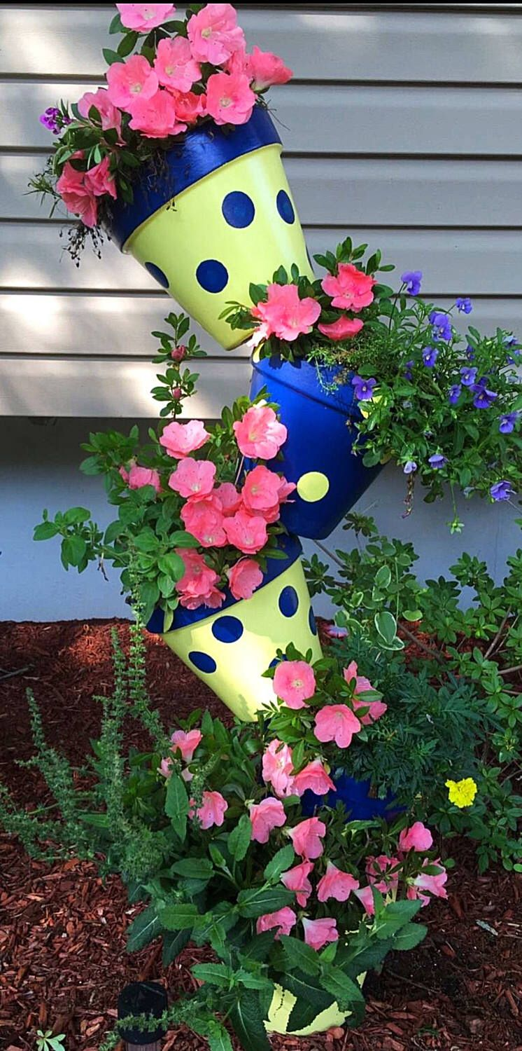 Flower Tower Planter Clay Pot Tower Polka dot Planters
