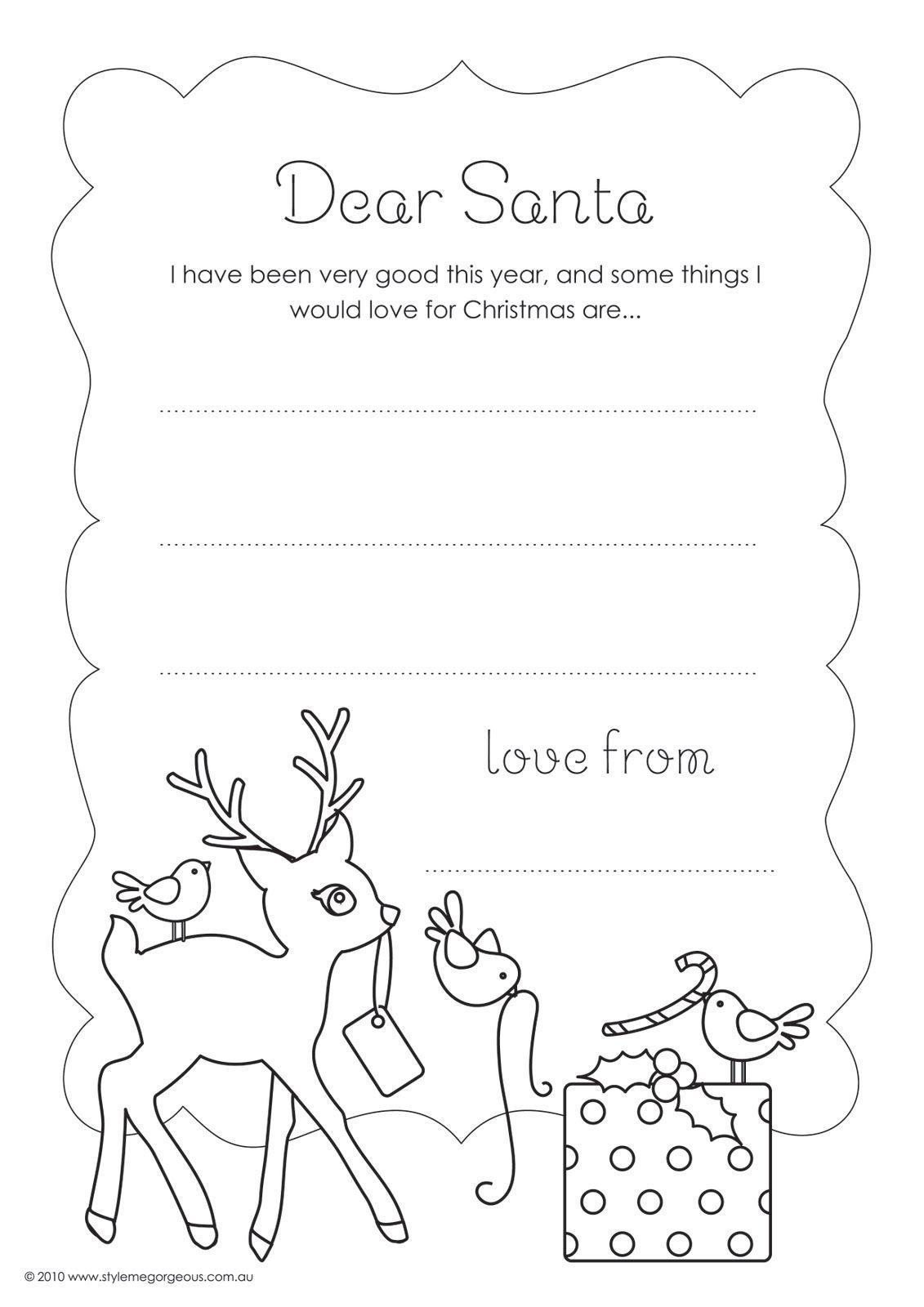 Dear Santa Letter Template for Kindergarten Style Me