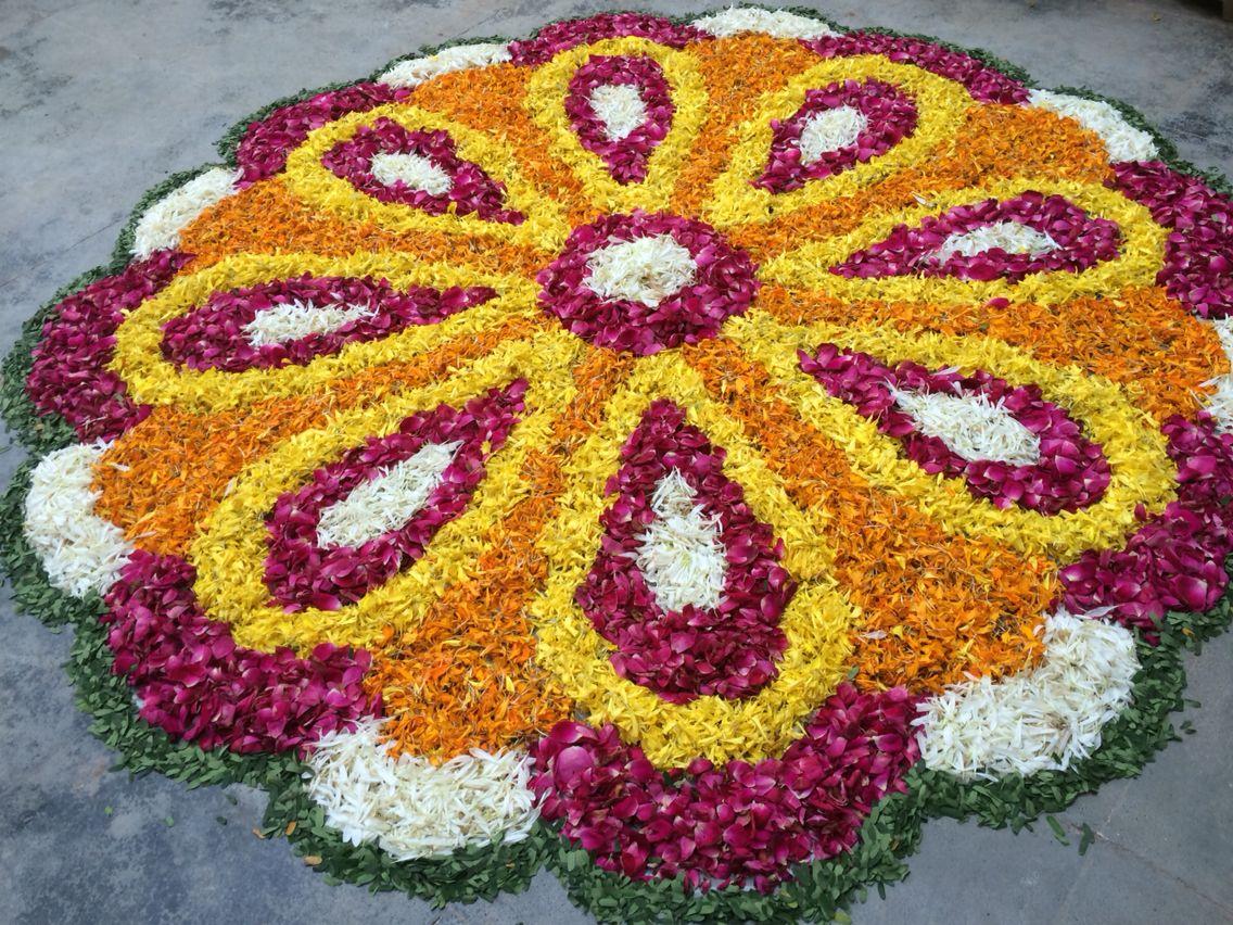 Rangoli of Flowers Diwali Rangoli Rangoli Pinterest