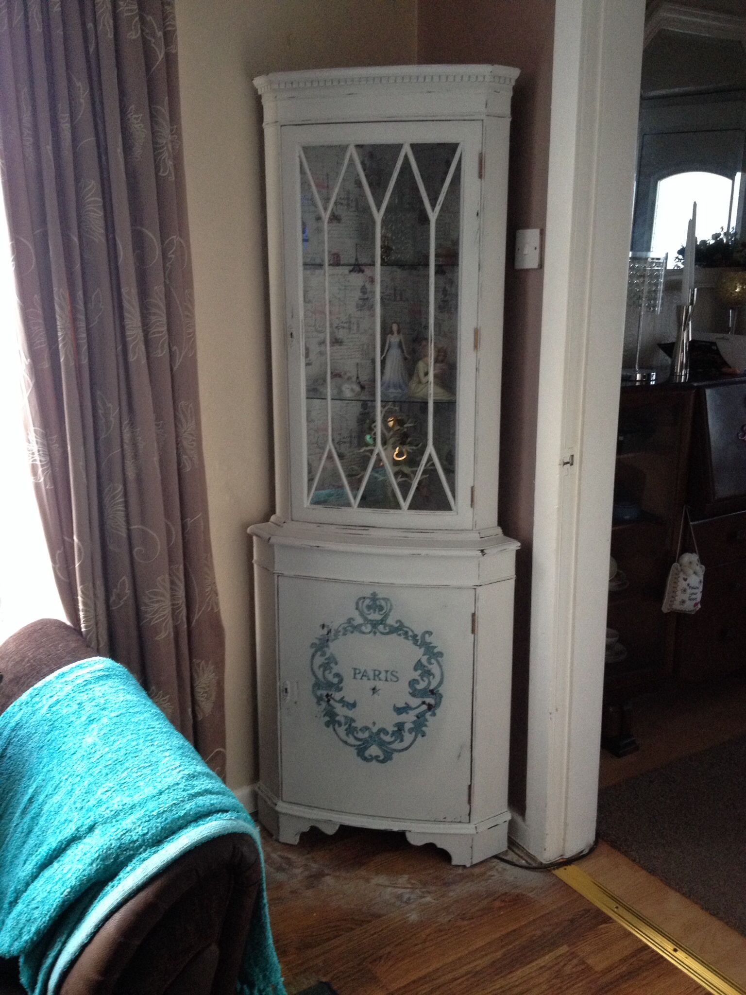 2nd shabby chic corner display unit with large
