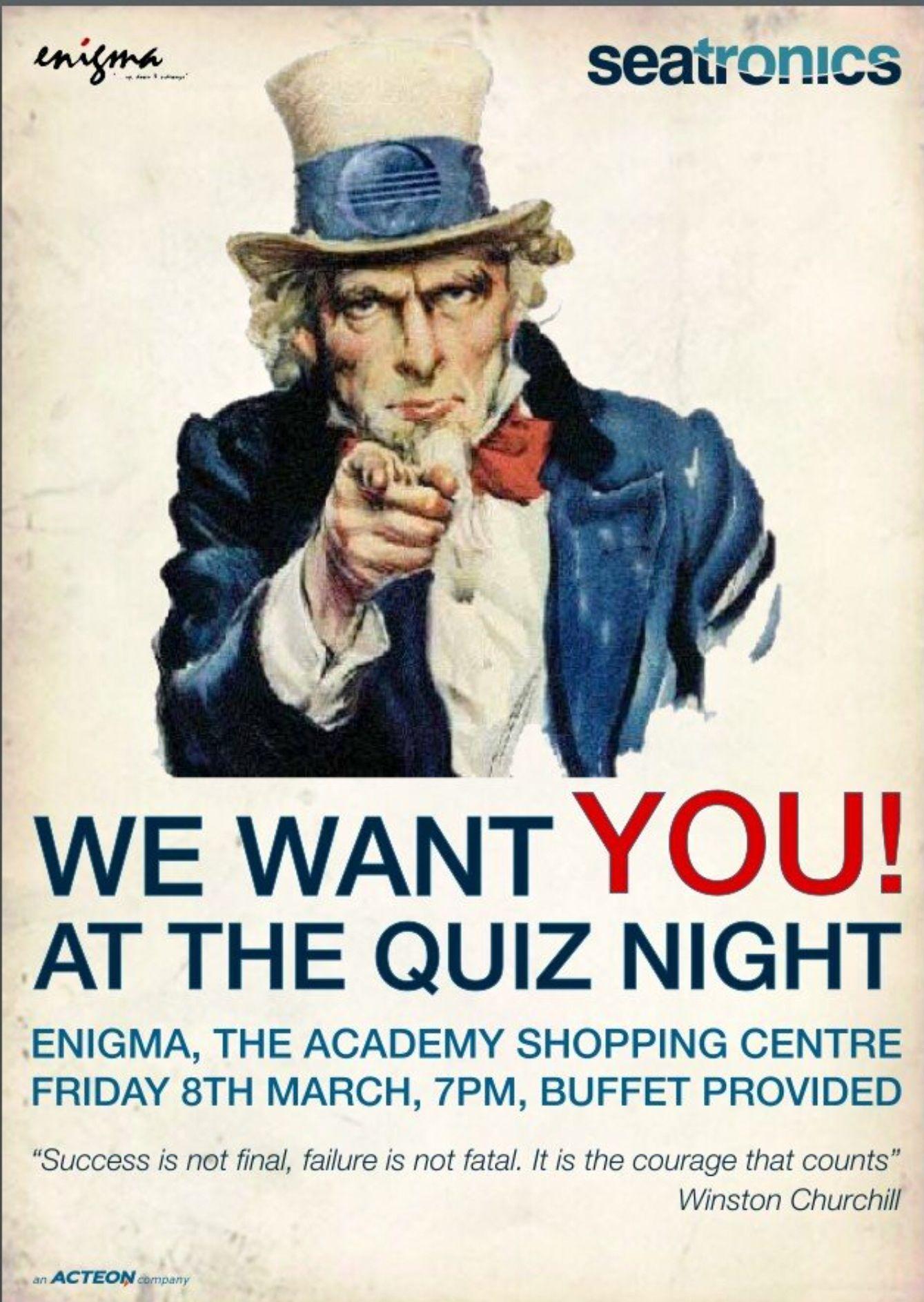 We want you, quiz night, poster Inspiracion Pinterest