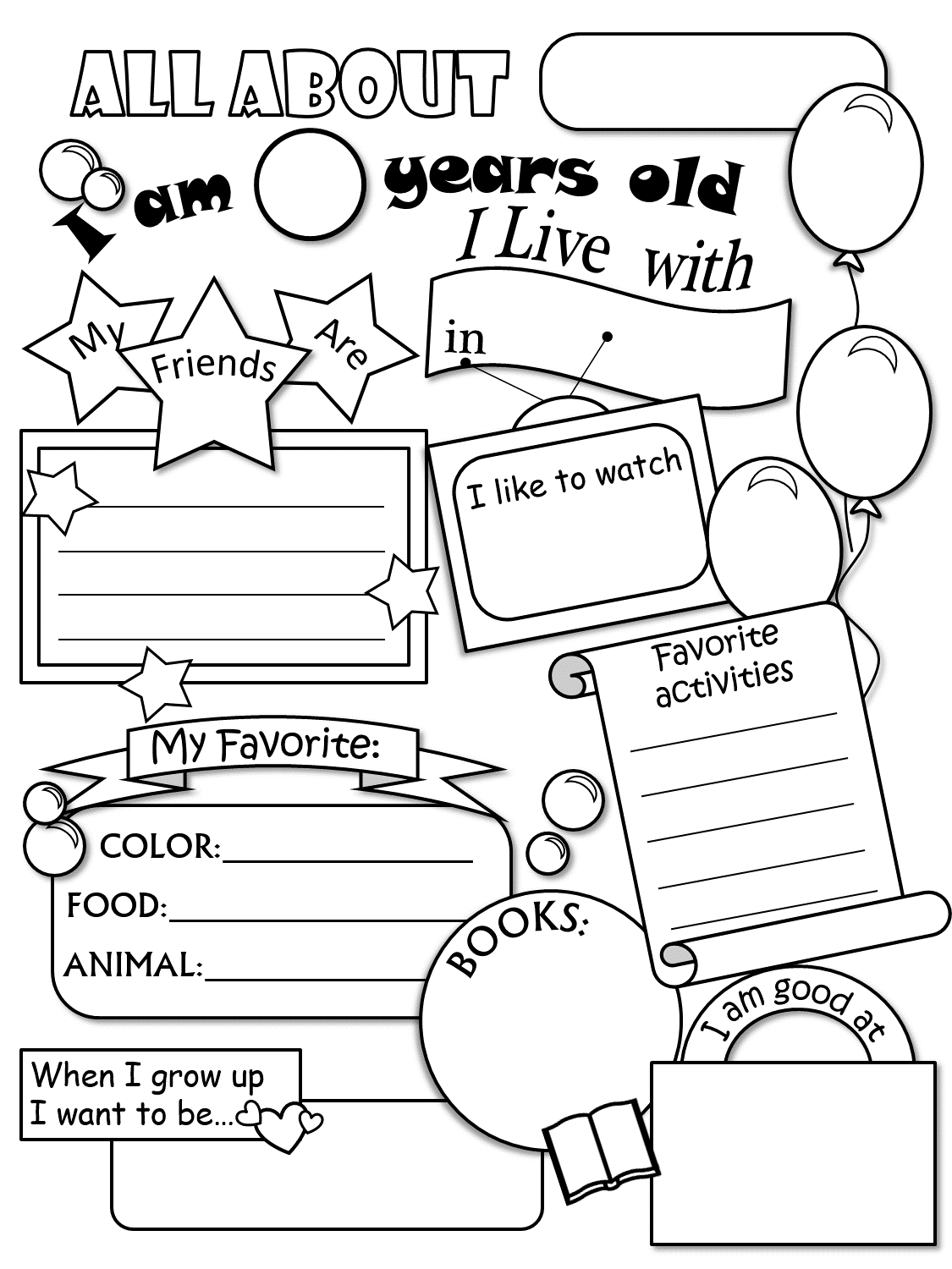 All About Me Worksheet This Would Be Cute For A Time Cap Or 1st Week Of School And Have A