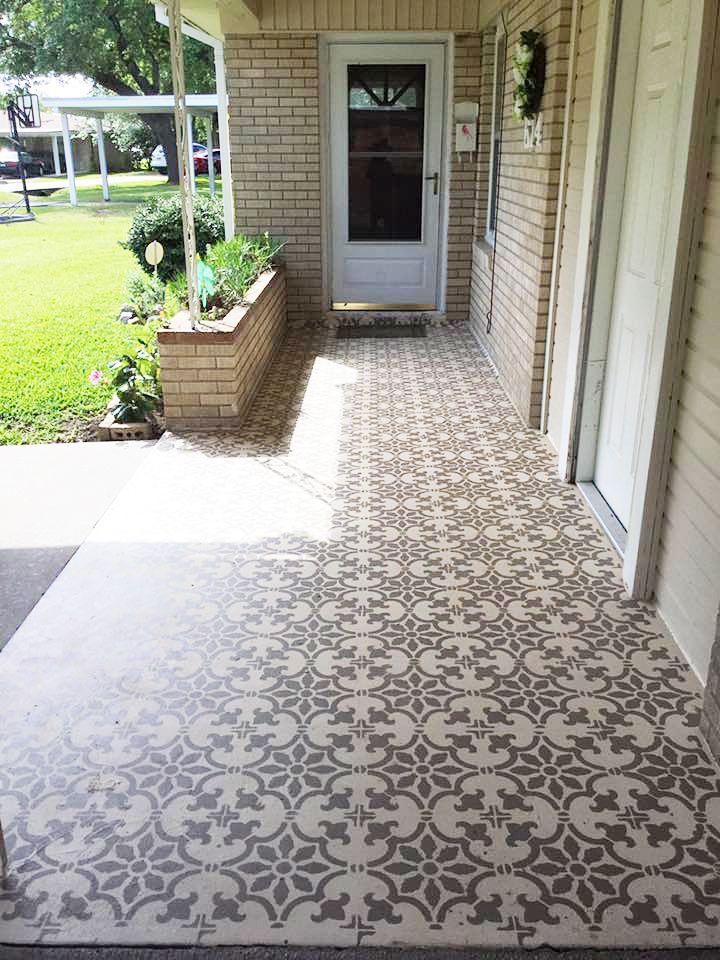 A DIY stenciled cement patio floor using the Fabiola Tile