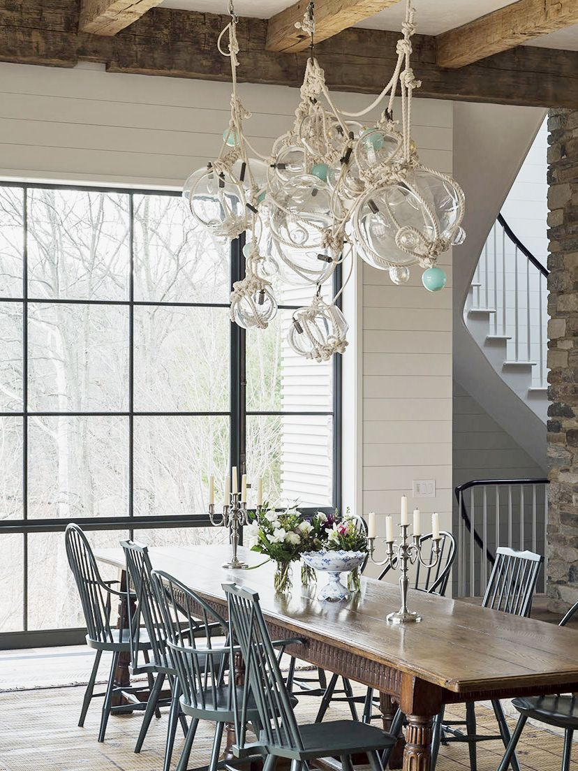Nautical Rope Chandelier In A Shaker Style Dining Room
