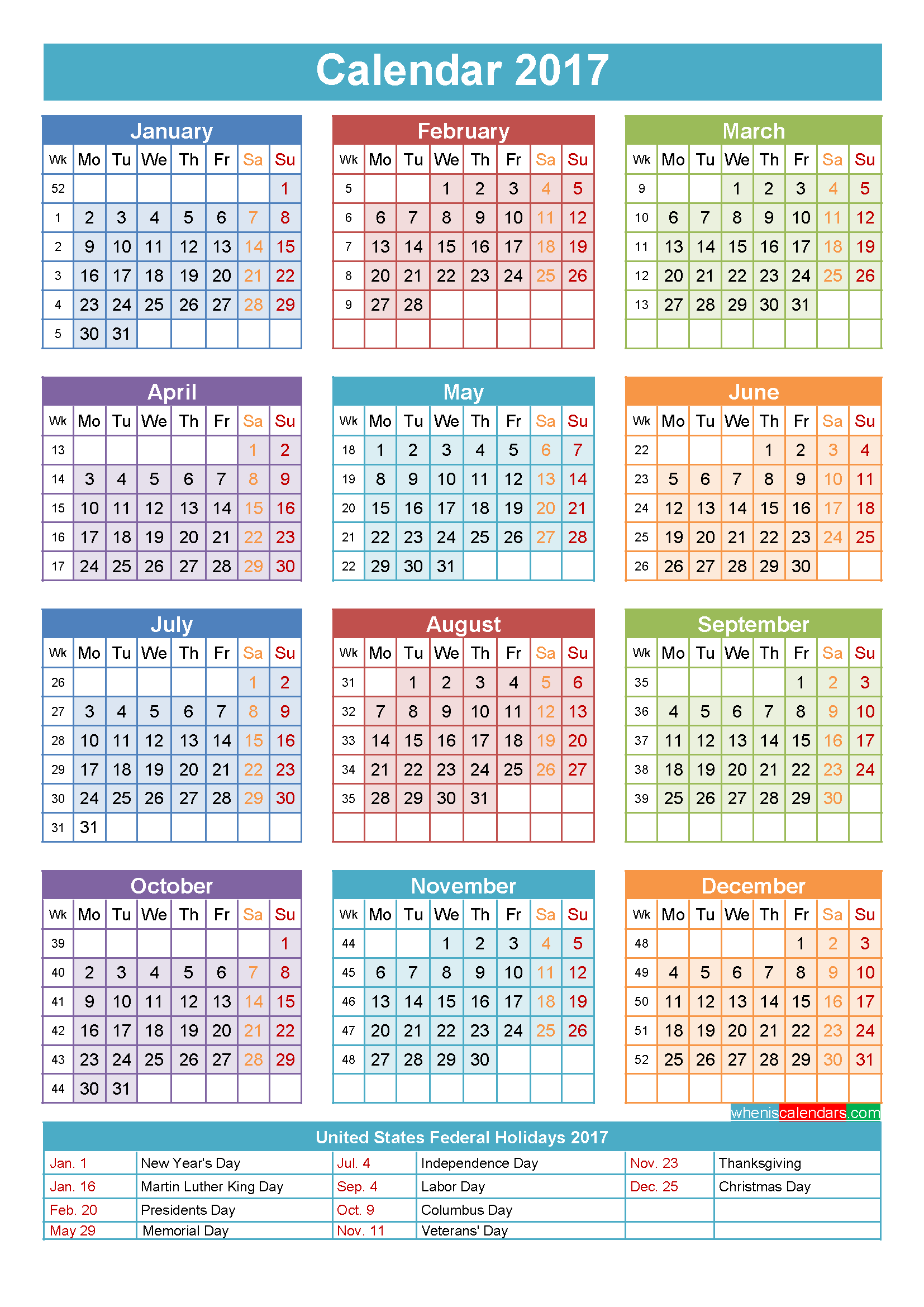 Calendar With Holidays Printable Yearly Calendar Template