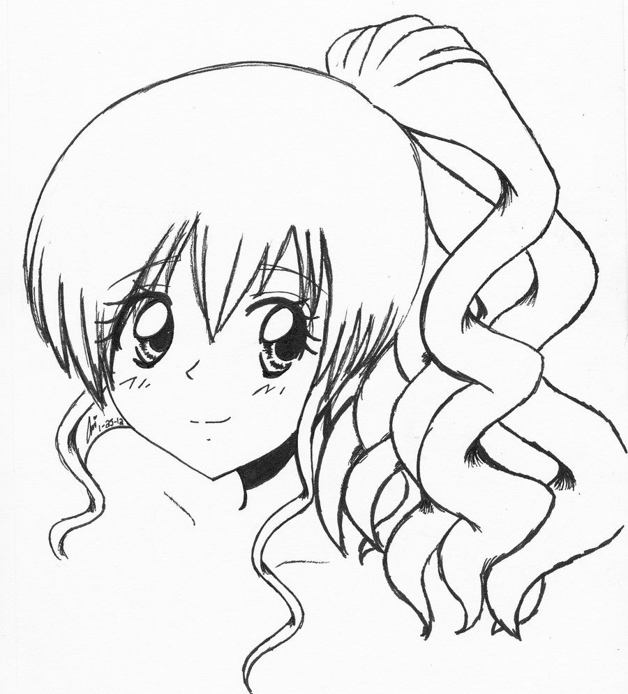 Anime Girl with Curly Hair by on