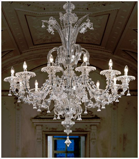 Hand Crafted Clear Murano Glass Lighting Artwork Traditional Venetian Chandelier With 12 Light