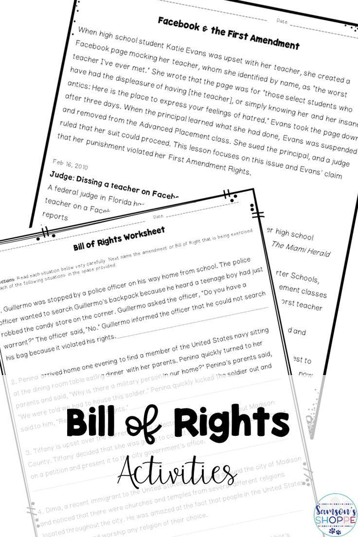 Bill Of Rights N Ficti Rticles W Ksheets Projects Nd