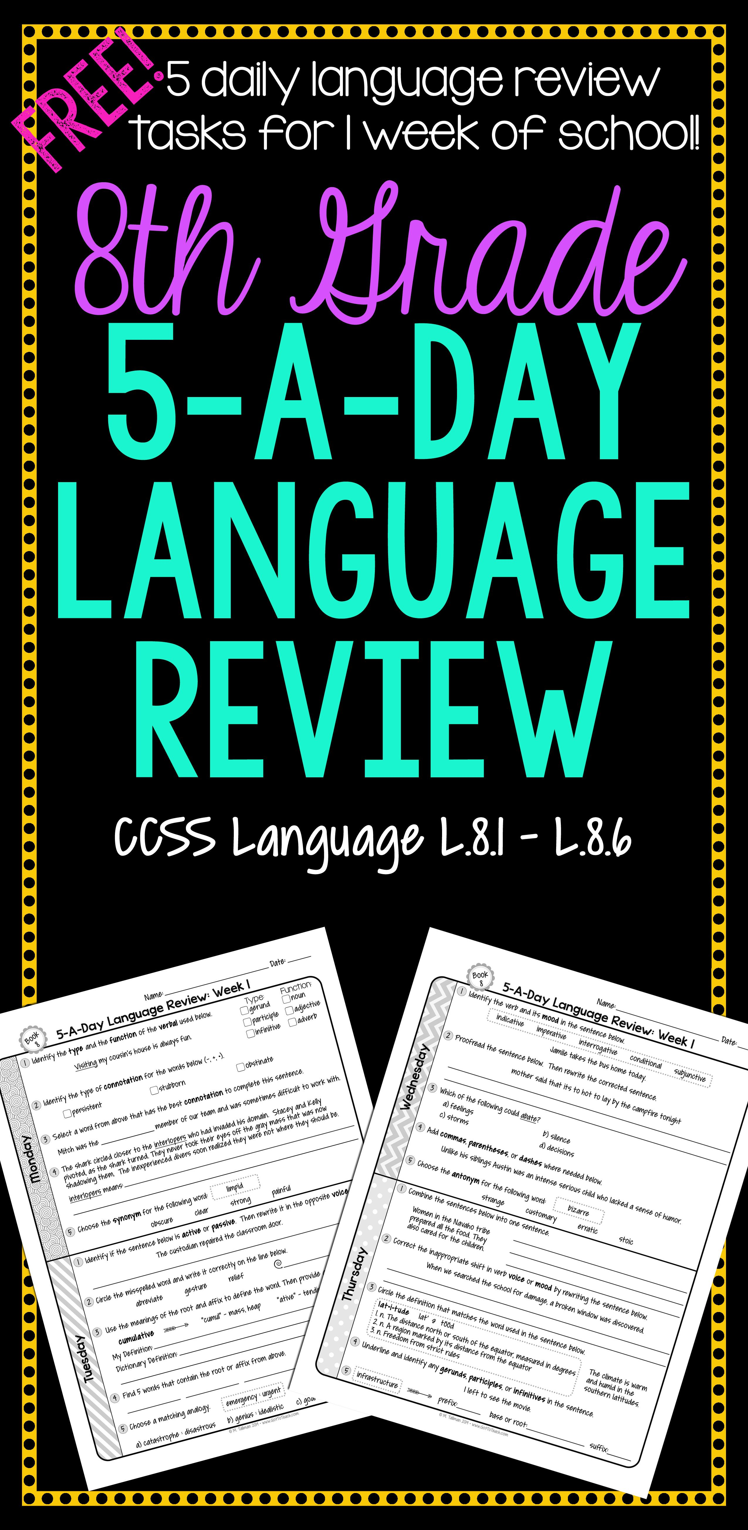 Free 1 Week Of Daily Common Core Language Review For 8th
