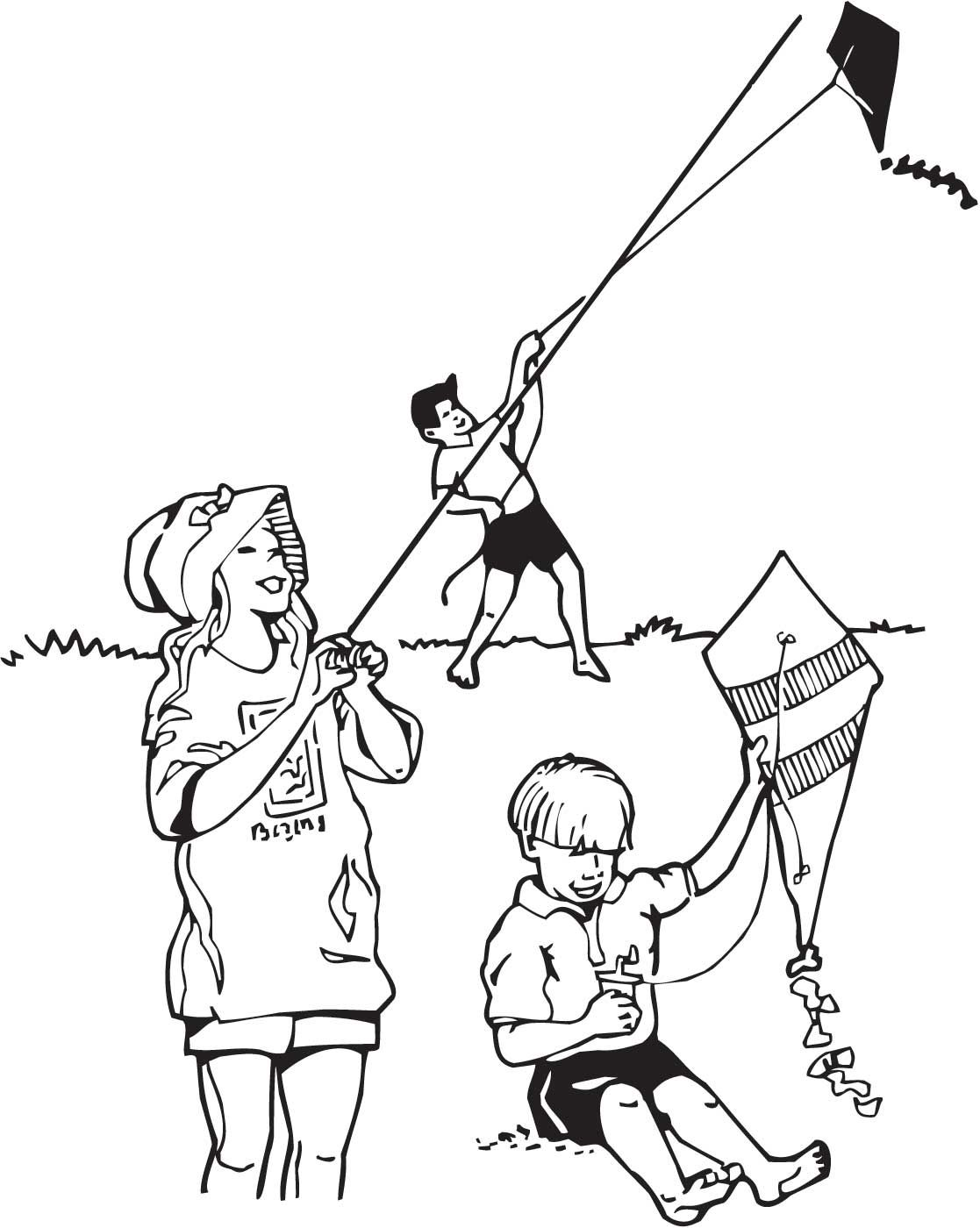 Coloring Pages Of Child Flying Kites