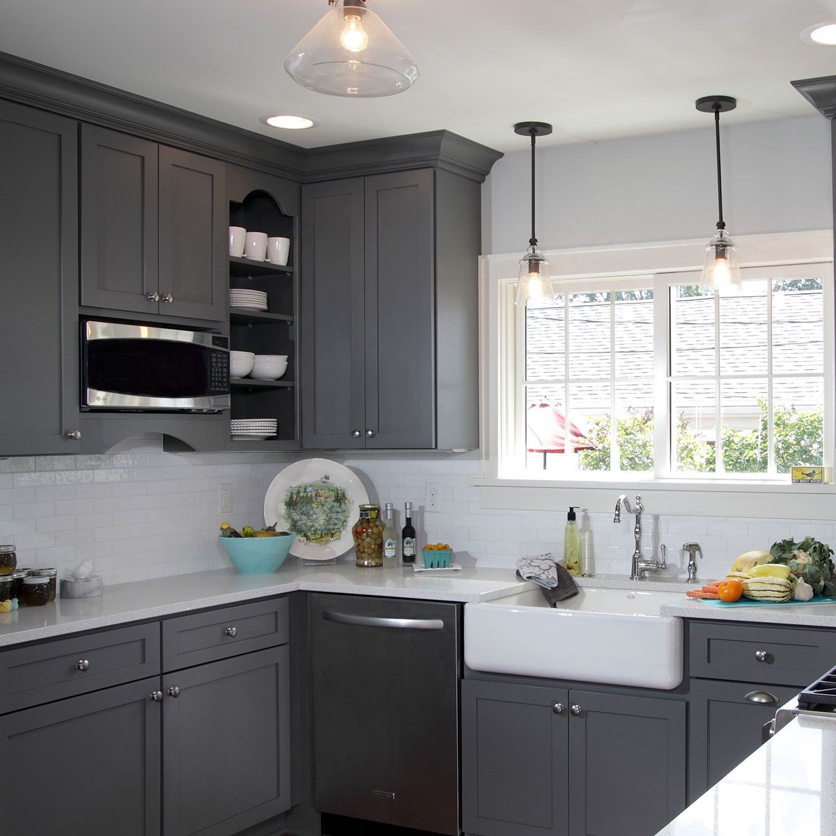 This Light French Gray SW 0055 kitchen has us