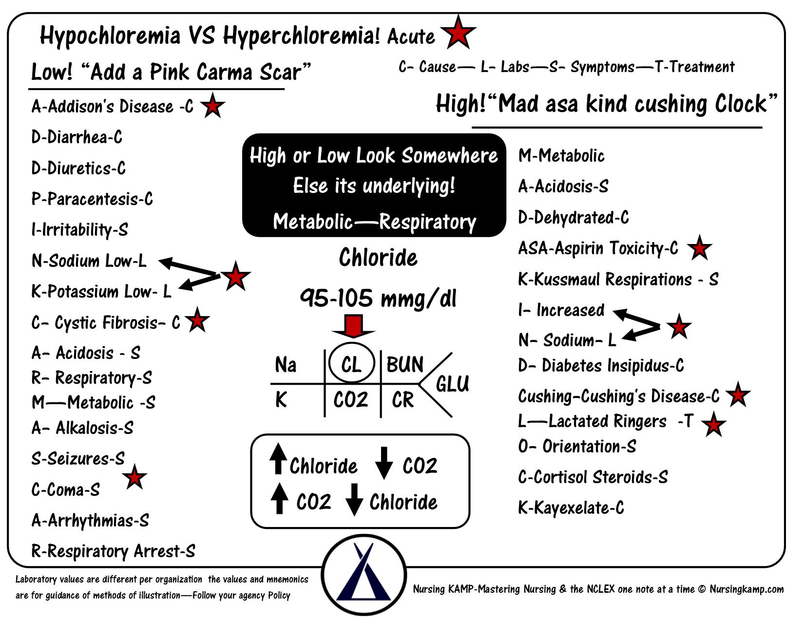 Chloride Co2 Bicarb Potassium Hyperkalemia Hypokalemia Hyponatremia Sodium Lab Value Blood