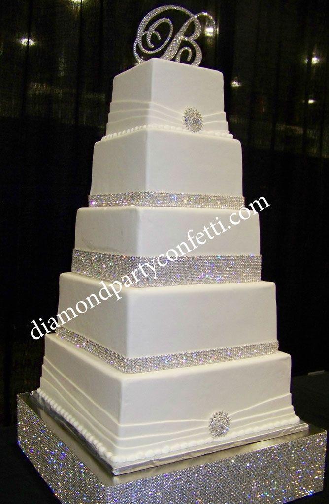 Rhinestone Bling Wedding Cake 5 Tier Square Wedding Cake