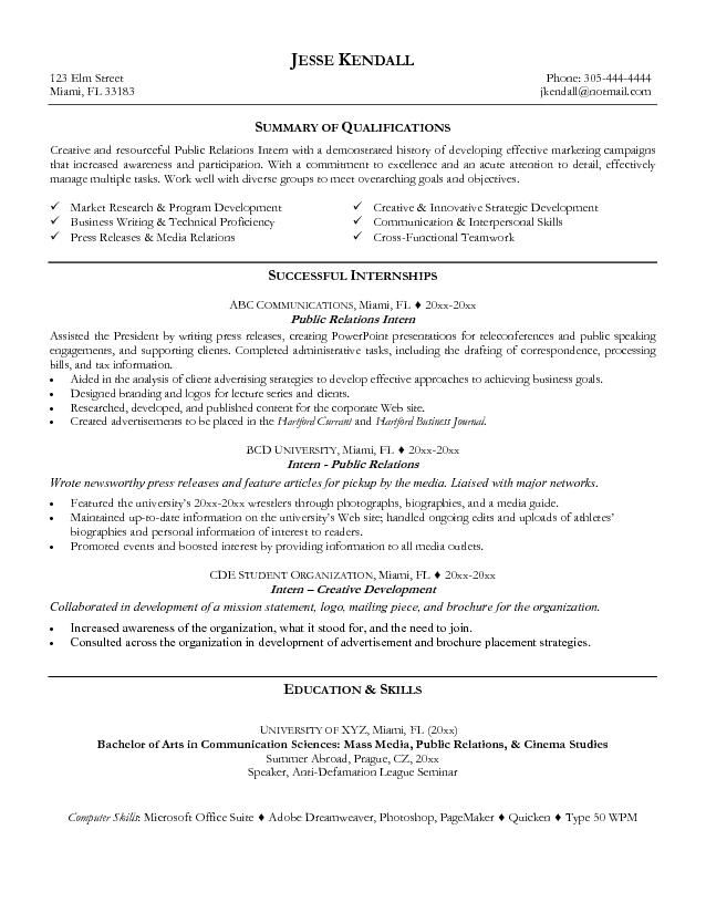 resume examples resume and public relations on pinterest