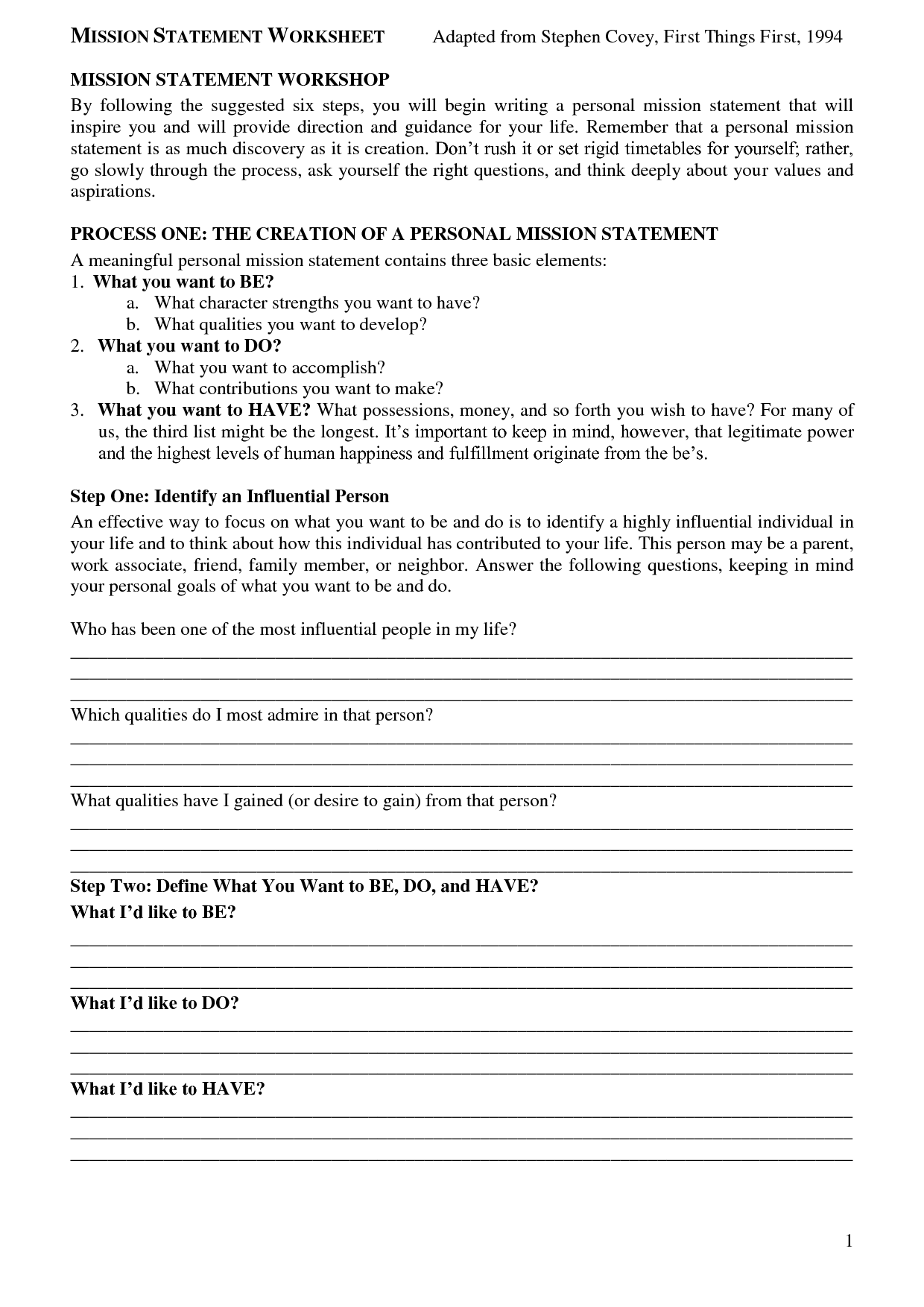 Sean Covey Mission Statement Worksheet