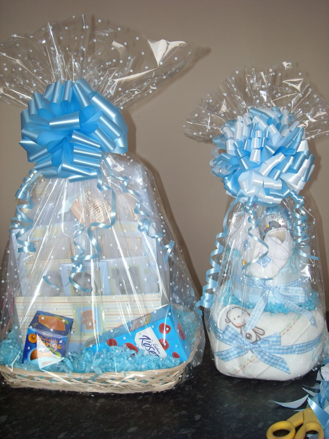 Clear cellophane with a white dot for a baby shower gift