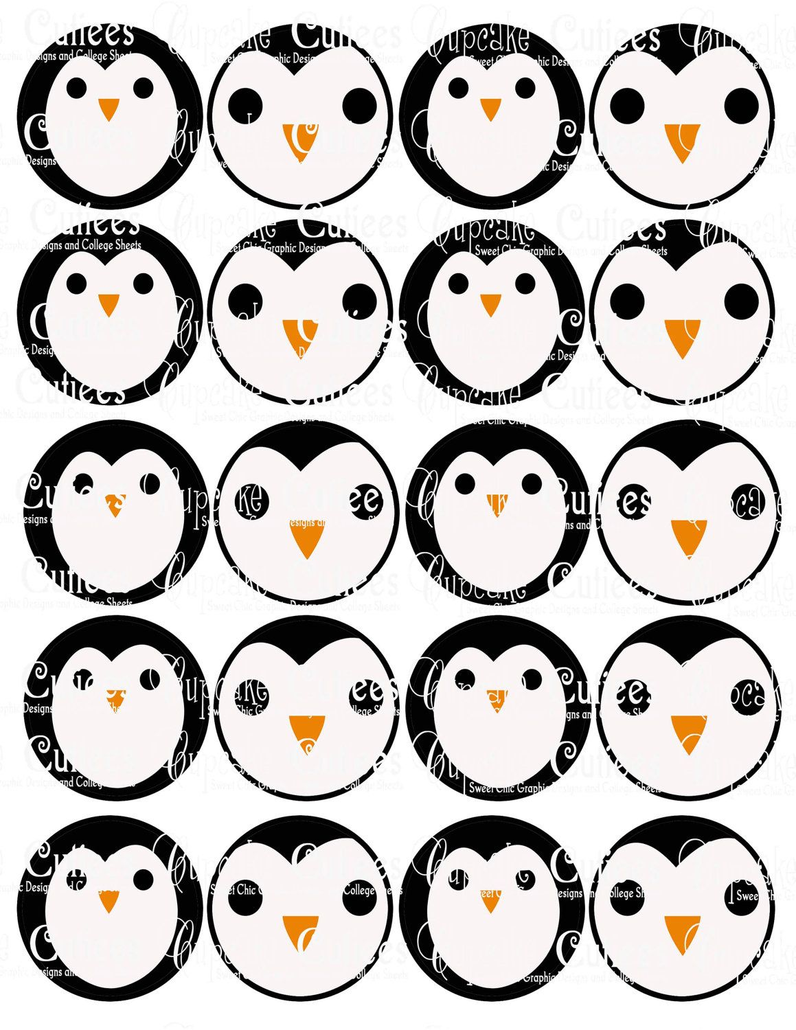 Penguin Faces Digital Collage Cupcake Toppers 2 Inch