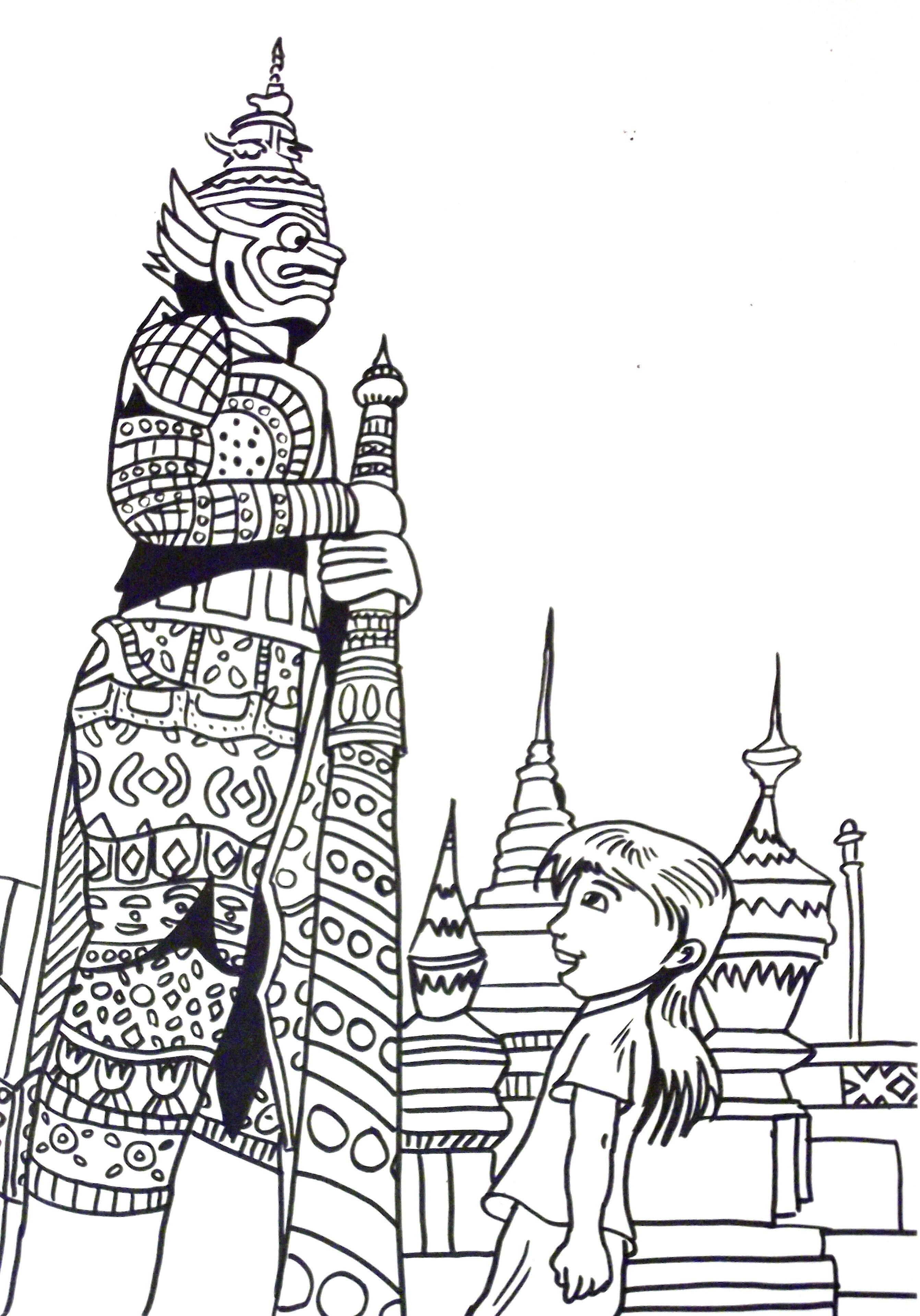 Thailand Coloring Page Thai Child Kid Girl Statues