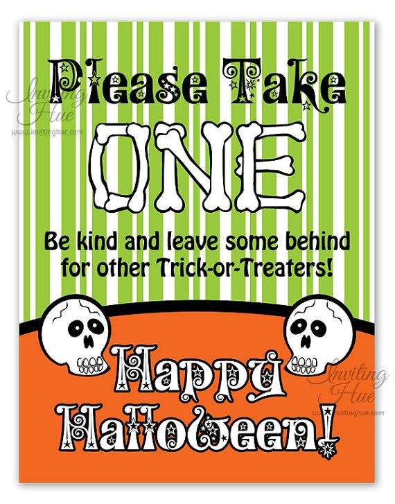 Printable Sign for Unattended Halloween Candy Bowl for