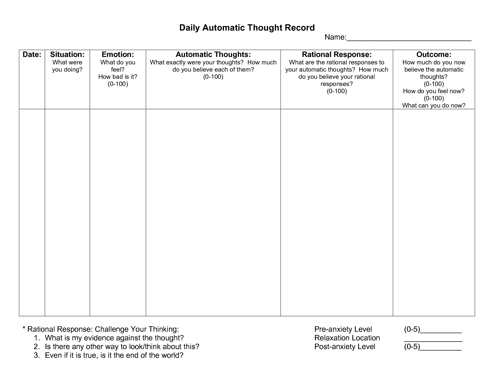 Automatic Thought Record Worksheet