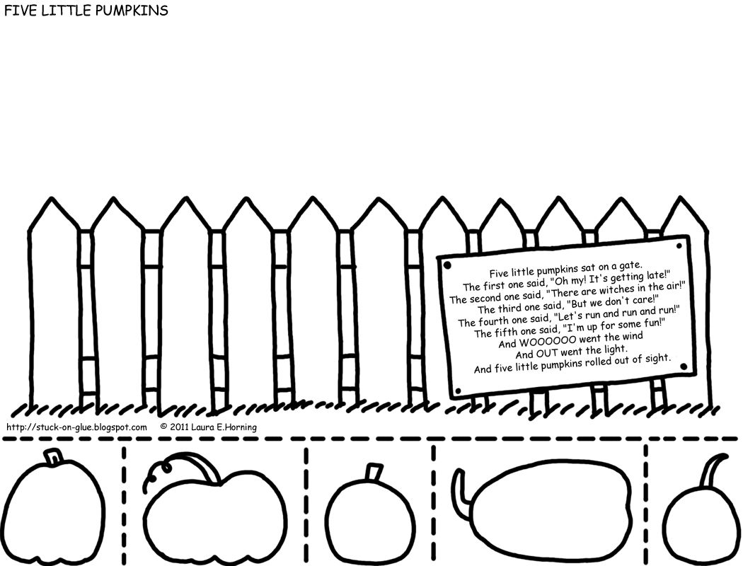 Five Little Pumpkins Sitting On A Fence Coloring Page