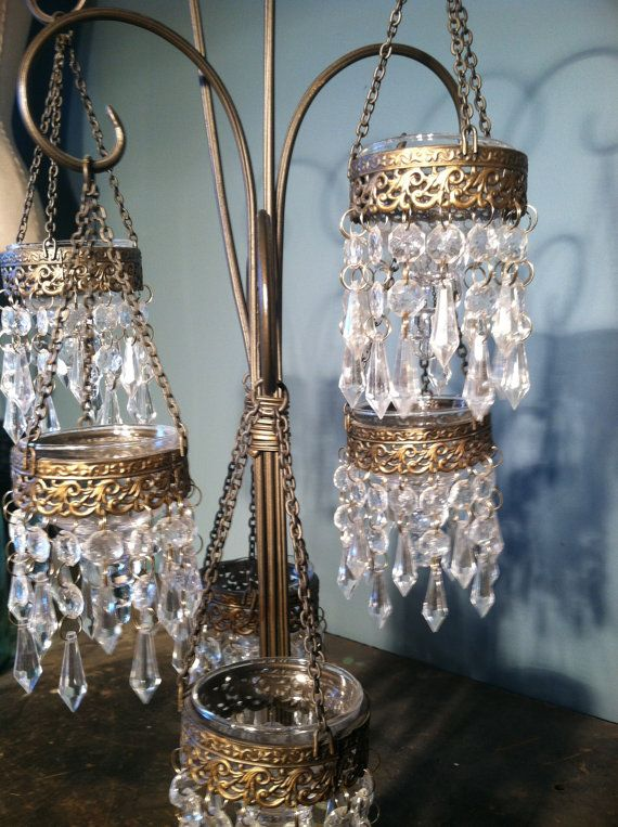 Vintage Crystal Chandelier Tea Light Holder
