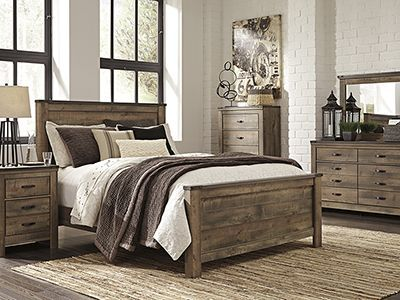 trinell 5-pc. queen bedroom set - replicated oak grain takes the
